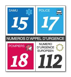Numéros d'urgnece : 15, 17, 18, 112