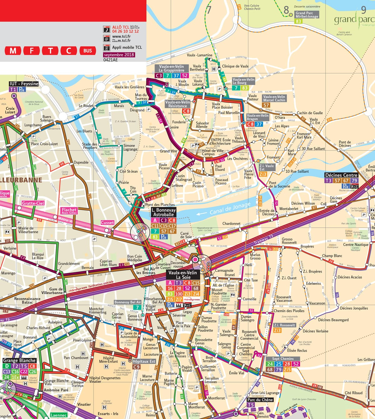 Carte des transports en commun