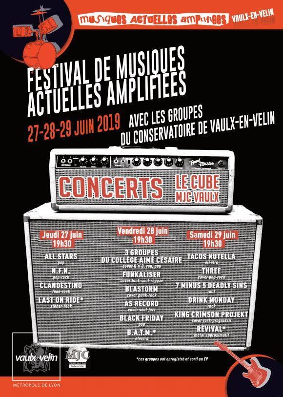 Affiche du Festival de Musiques Actuelles Amplifiées 2019