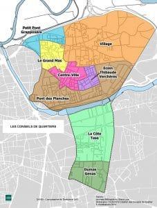 Carte des conseils de quartiers