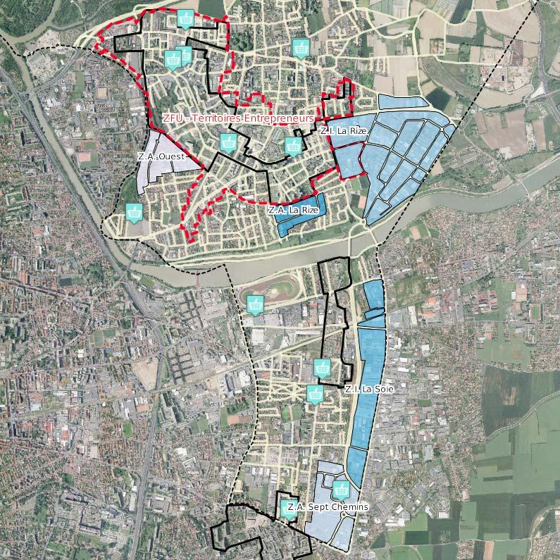 Carte interactive, zones activités industrielles franche urbaine carte vaulx en velin