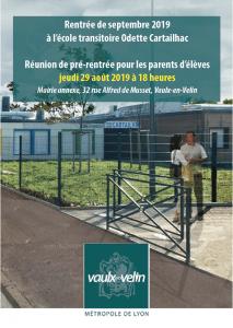 Ecole transitoire Odette Cartailhac, réunion de pré-rentrée, jeudi 29 août 2019
