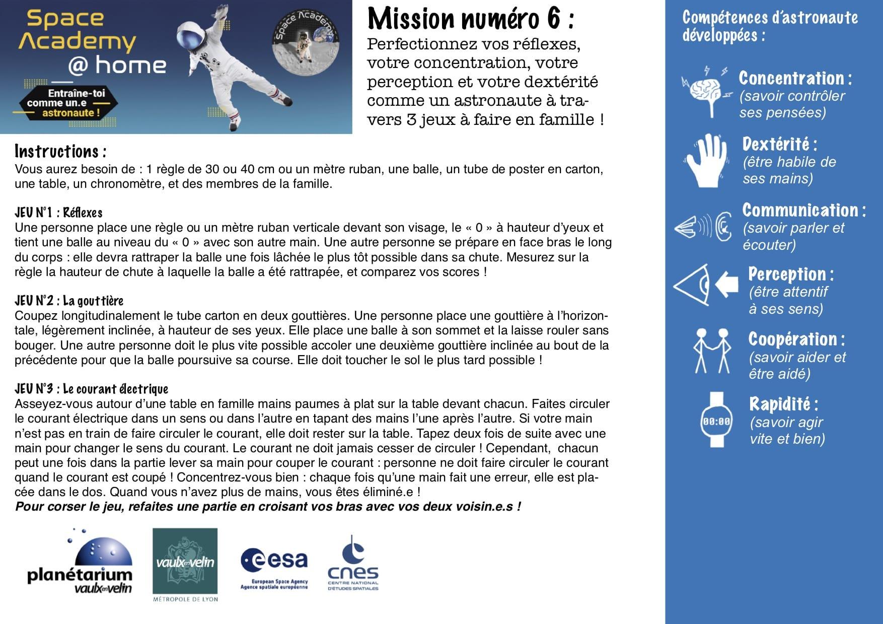 Missions du Planétarium 6 à 10