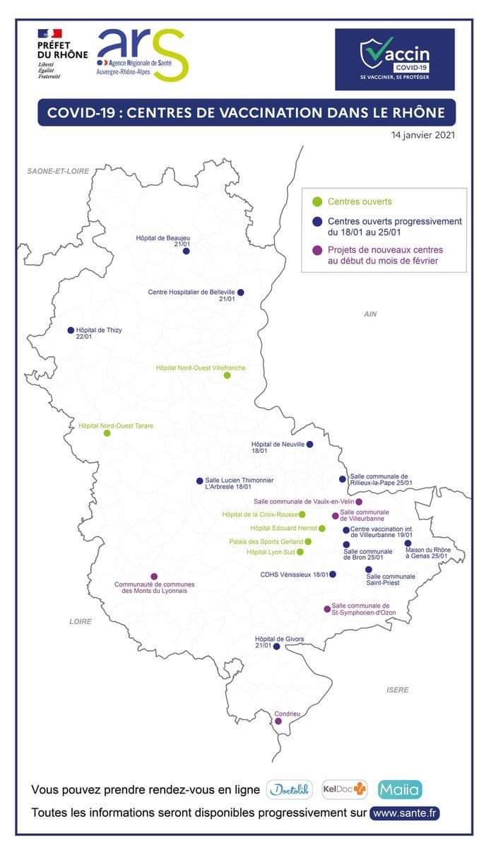 Carte des lieux de vaccination au 15 janvier 2021