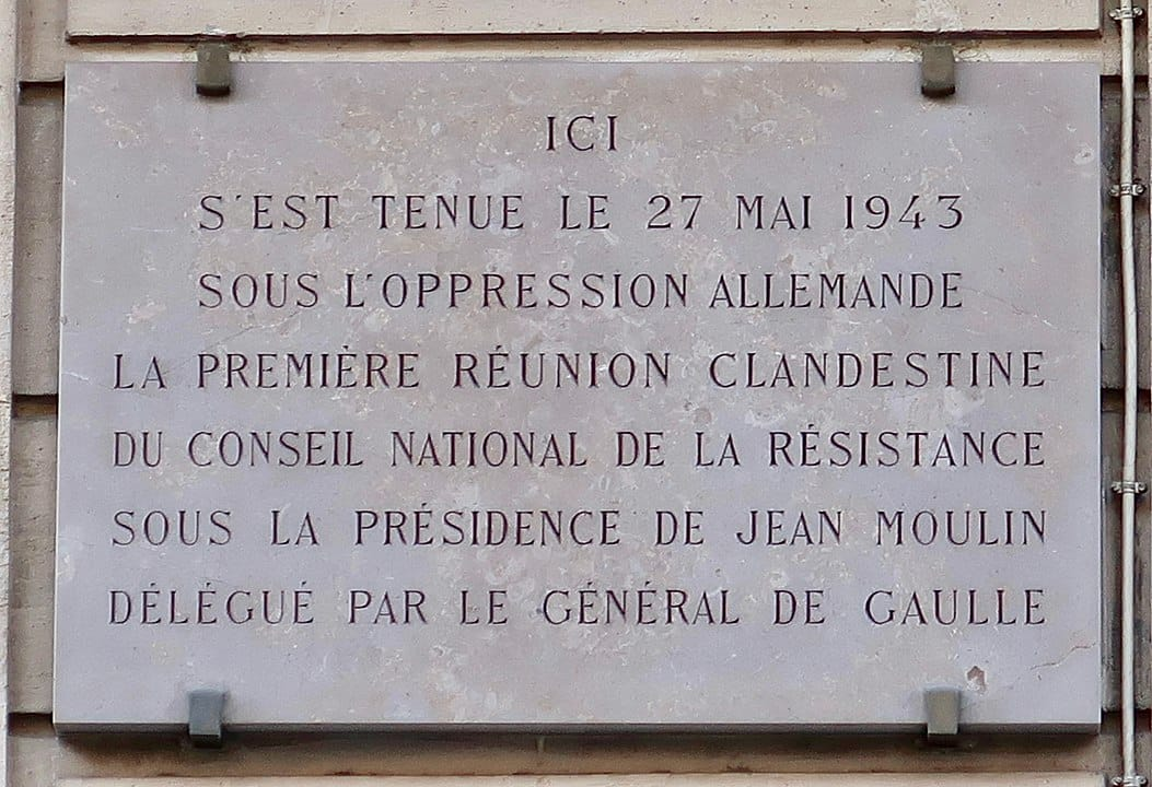 Plaque - Première réunion clandestine du Conseil national de la Résistance