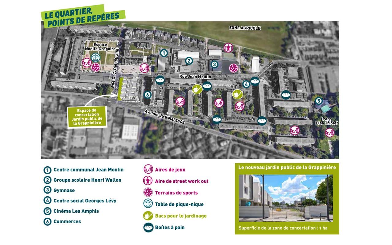 Carte - Points de repères - Quartier de la Grappinière