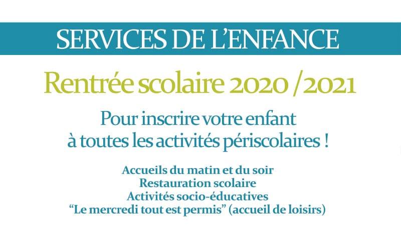 Inscriptions aux services de l'enfance  jusqu'au 21 août 2020