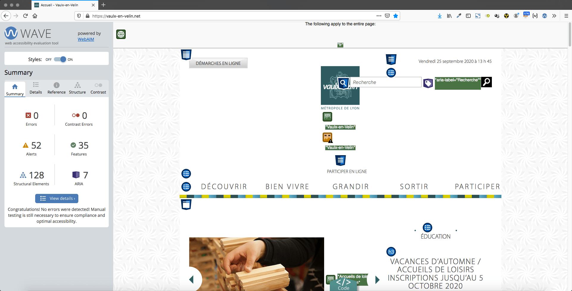 test d'accessibilité sur la page d'accueil du site internet de la Ville vaulx-en-velin.net - 25 septembre 2020