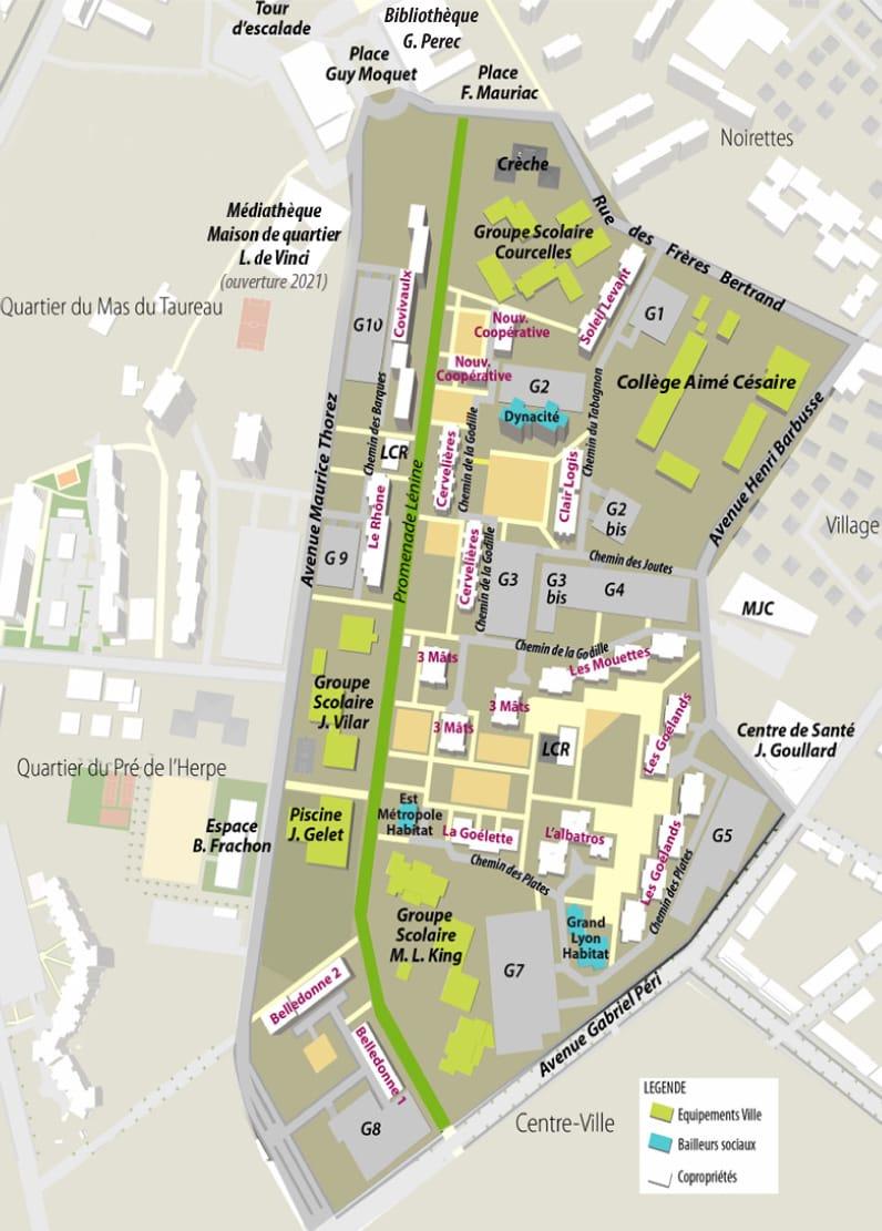 Plan du quartier Sauveteurs Cervelières