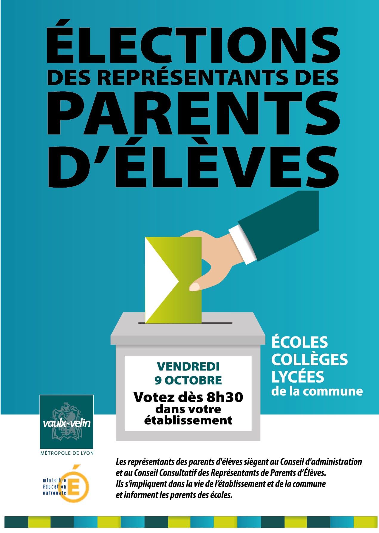 affiche 2020 pour les élections des représentants de parents d'élèves