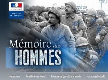 Visuel du site Mémoire des Hommes