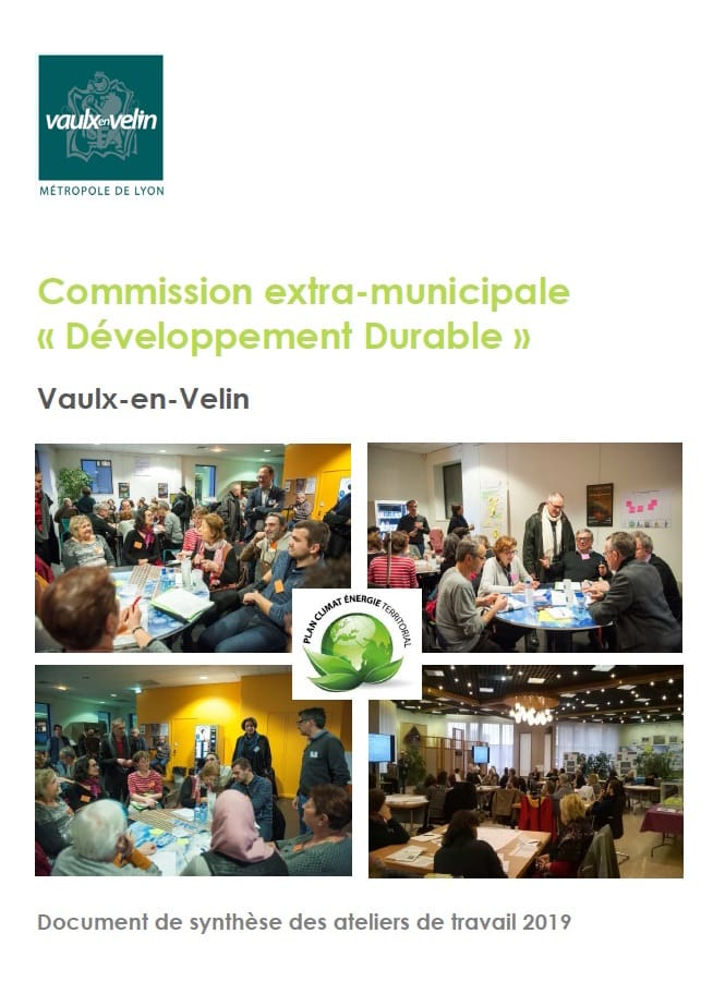 Illustration - couverture du document de synthèse des ateliers de la commission extra-municipale Développement Durable