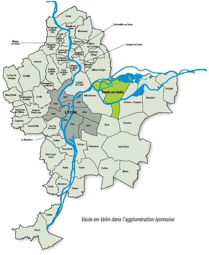 Vaulx-en-Velin dans l'agglomération Lyonnaise - cartographie 2020