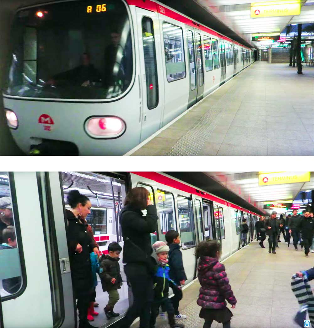 Station de métro - Vaulx-en-Velin La Soie - terminus, tous les voyageurs descendent de voiture - décembre 2016