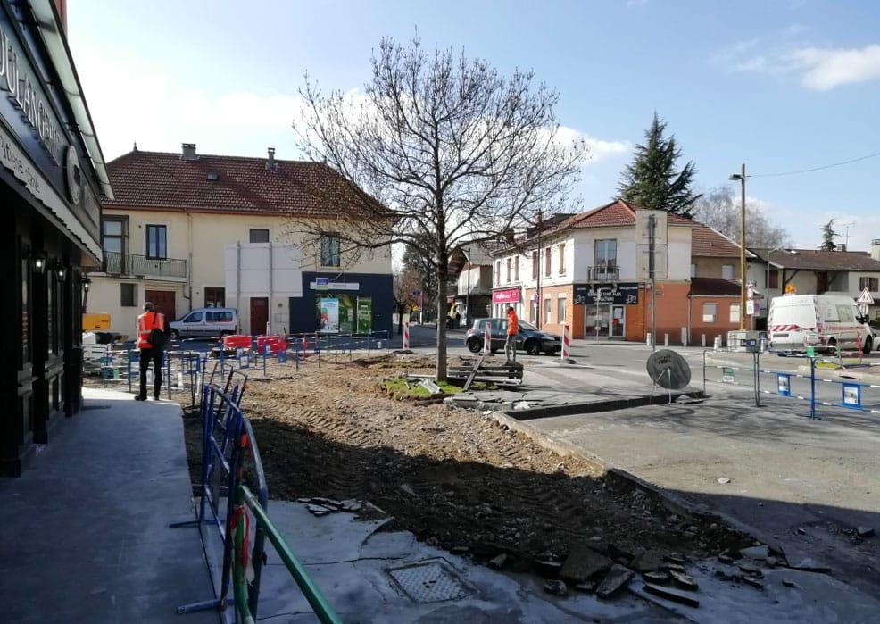 Travaux de voirie à l'angle de la rue de l'Égalité et de la rue de la République - mars 2021