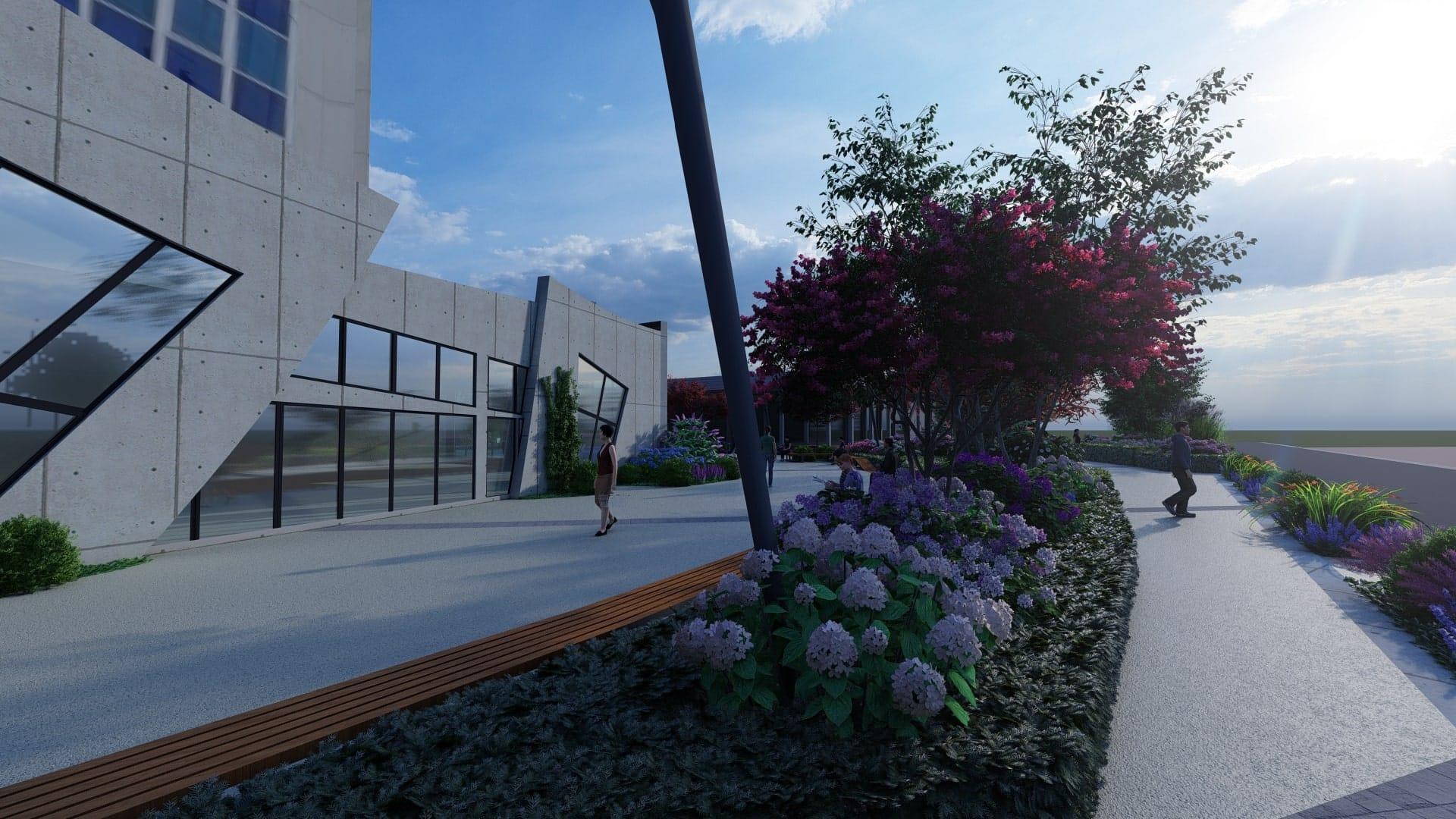 Perspective du parvis de l'hôtel de Ville - vue d\'architecte - © Paradis Vert