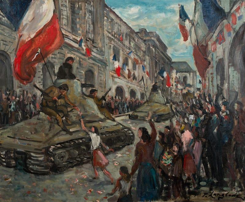 Peinture - Défilé des chars rue du Palais, 8 mai 1945 - Pierre Langlade (1945)