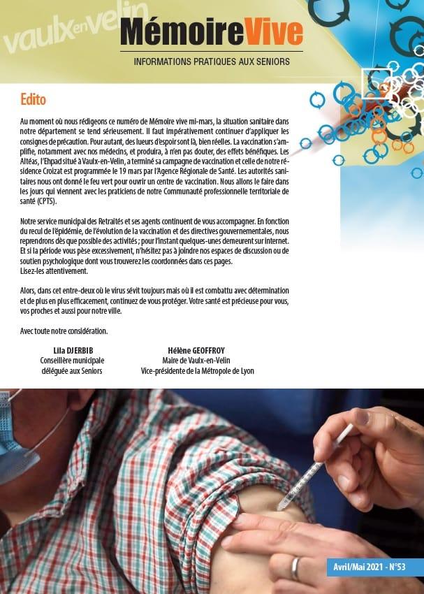 Mémoire Vive : édition de mars à mai 2021