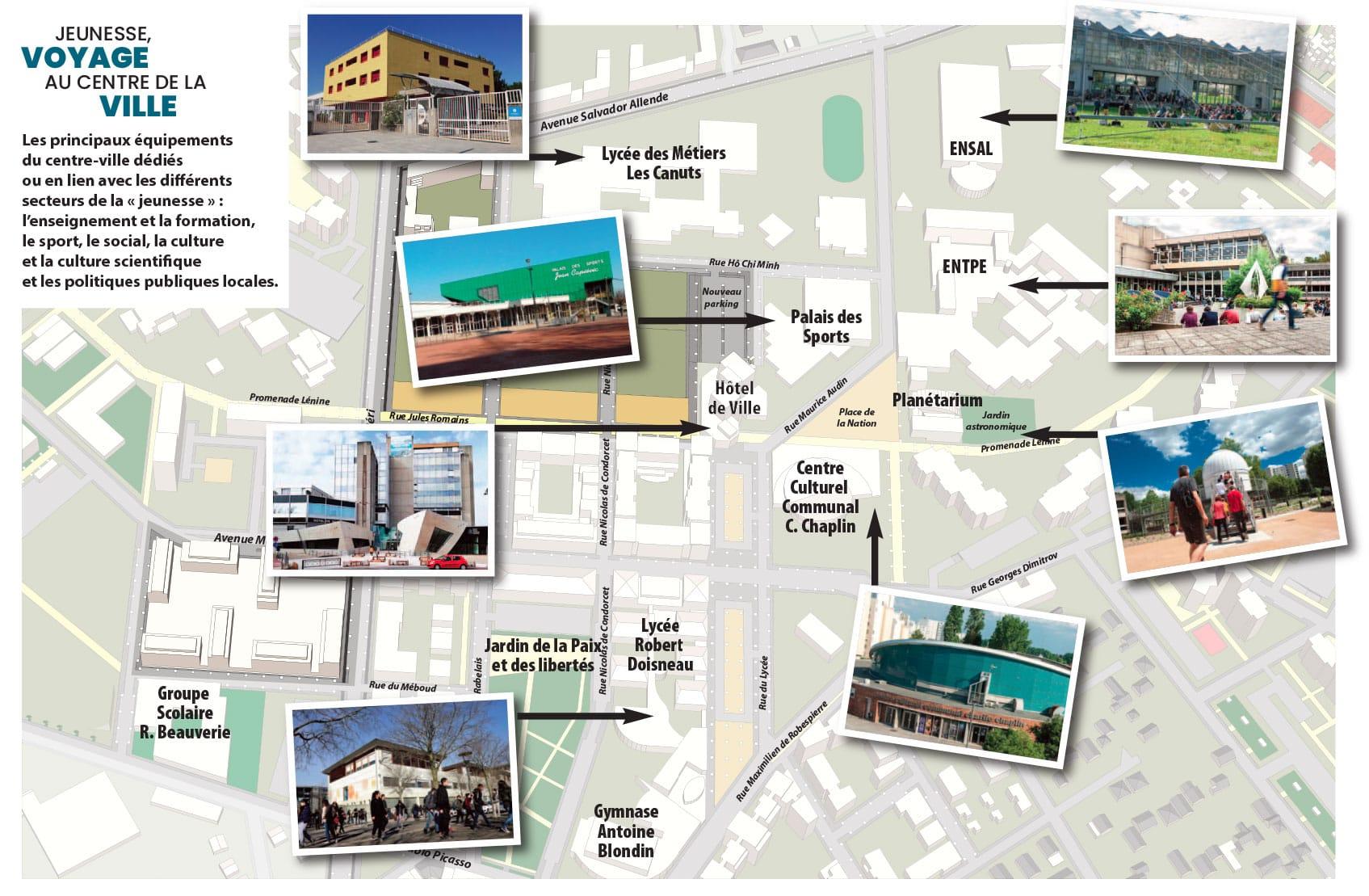 Plan du centre-ville de Vaulx-en-Velin présentant les principaux équipements dédiés à la jeunesse - Journées européennes du patrimoine 2021