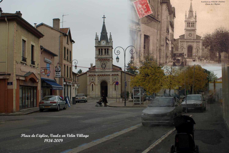 Église du village de Vaulx-en-Velin en 1934 et 2009